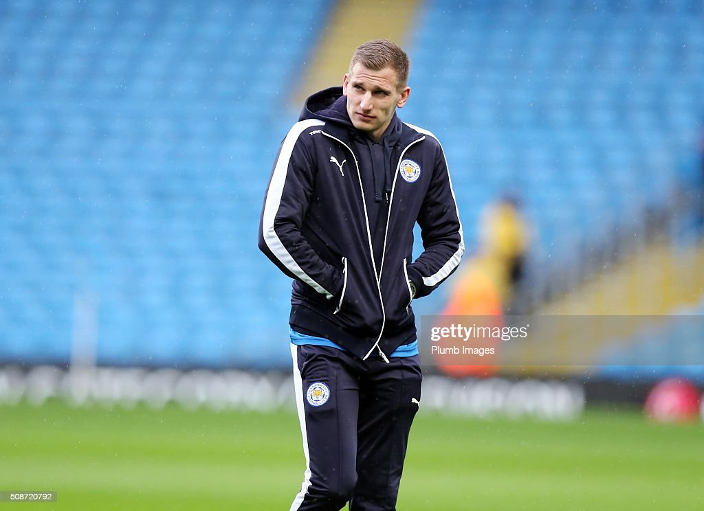 Marc Albrighton of Leicester City at the Etihad Stadium ahead of the Premier League match between Manchester City and Leicester City at Etihad Stadium on February 6, 2016 in Manchester, United Kingdom.