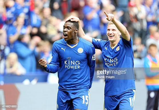 Marc Albrighton of Leicester City celebrates after scoring to make it 20 during the Premier League match between Leicester City and Queens Park...