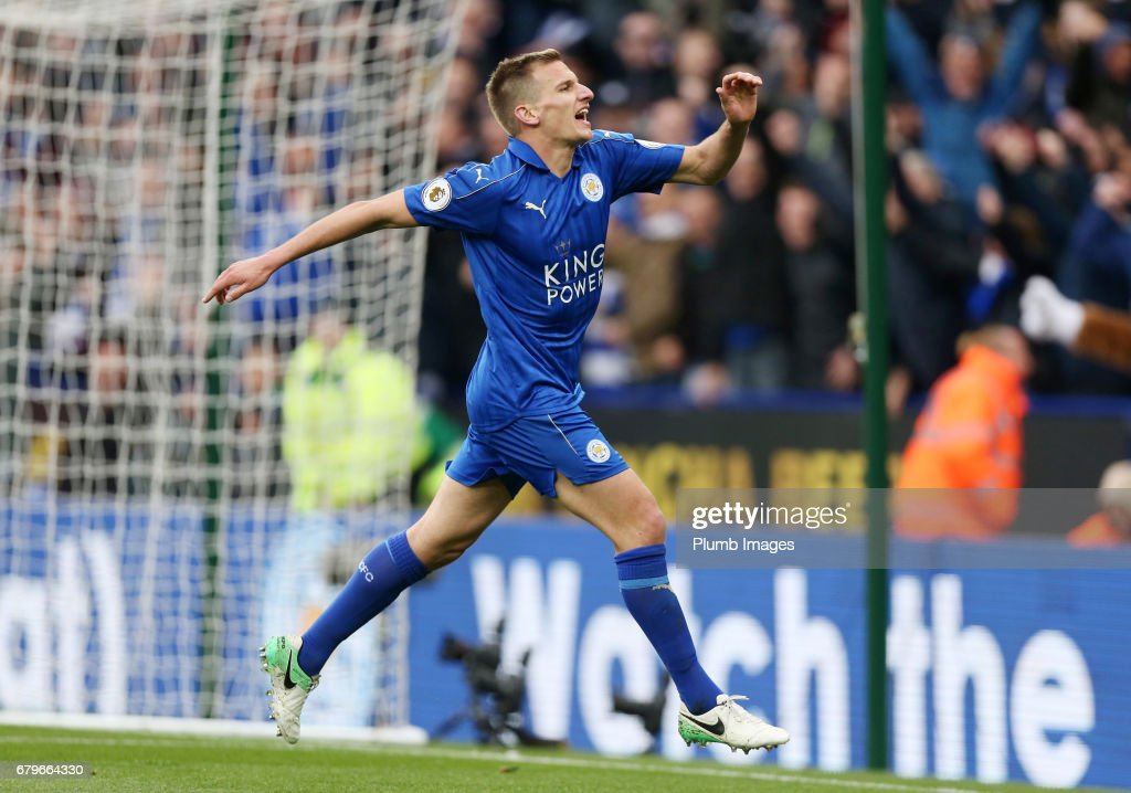 Marc Albrighton of Leicester City celebrates after scoring to make it 3-0 during of the Premier League match between Leicester City and Watford at King Power Stadium on May 06 , 2017 in Leicester, United Kingdom.