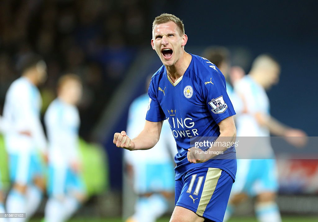 Marc Albrighton of Leicester City celebrates after Shinji Okazaki of Leicester City scores to make it 1-0 during the Barclays Premier League match between Leicester City and Newcastle United at the King Power Stadium on March 14 , 2016 in Leicester, United Kingdom.