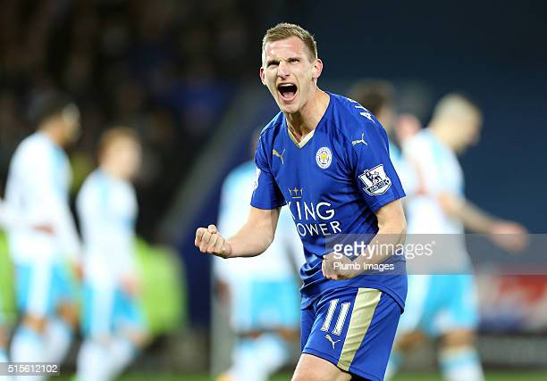 Marc Albrighton of Leicester City celebrates after Shinji Okazaki of Leicester City scores to make it 10 during the Barclays Premier League match...