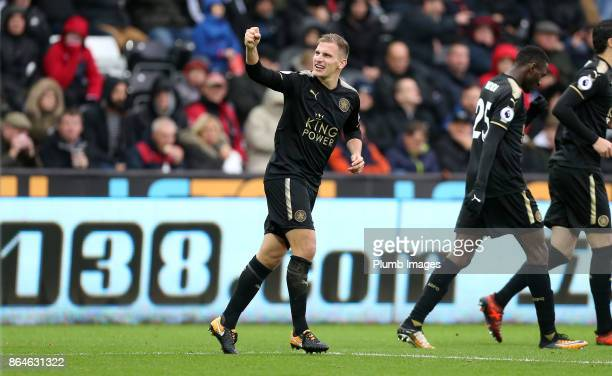 Marc Albrighton of Leicester City celebrates after Shinji Okazaki of Leicester City scores to make it 02 during the Premier League match between...
