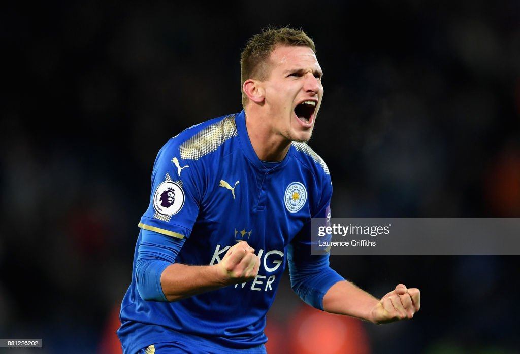 Marc Albrighton of Leicester City celebrates after the Premier League match between Leicester City and Tottenham Hotspur at The King Power Stadium on November 28, 2017 in Leicester, England.