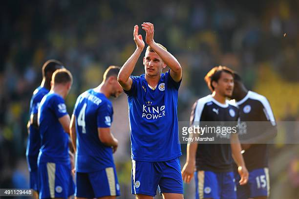 Marc Albrighton of Leicester City celebrates his team's 21 win in the Barclays Premier League match between Norwich City and Leicester City at Carrow...