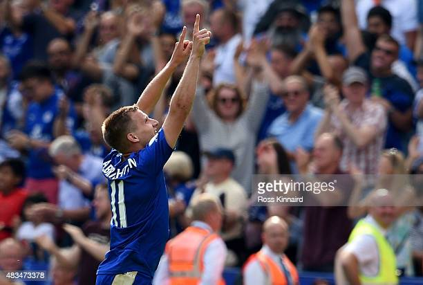 Marc Albrighton of Leicester City celebrates scoring his team's fourth goal during the Barclays Premier League match between Leicester City and...