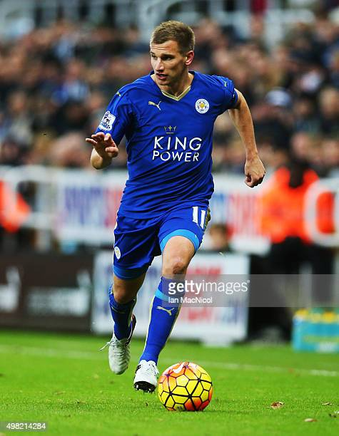 Marc Albrighton of Leicester City controls the ball during the Barclays Premier League match between Newcastle and Leicester City at St James Park on...