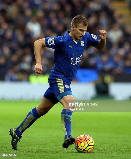 Marc Albrighton of Leicester City during the Barclays Premier League match between Leicester City and Crystal Palace at The King Power Stadium on...