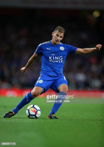 Marc Albrighton of Leicester City during the Premier League match between Arsenal and Leicester City at Emirates Stadium on August 11 2017 in London...