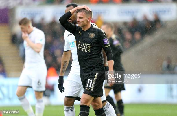 Marc Albrighton of Leicester City during the Premier League match between Swansea City and Leicester City at Liberty Stadium on October 21st 2017 in...