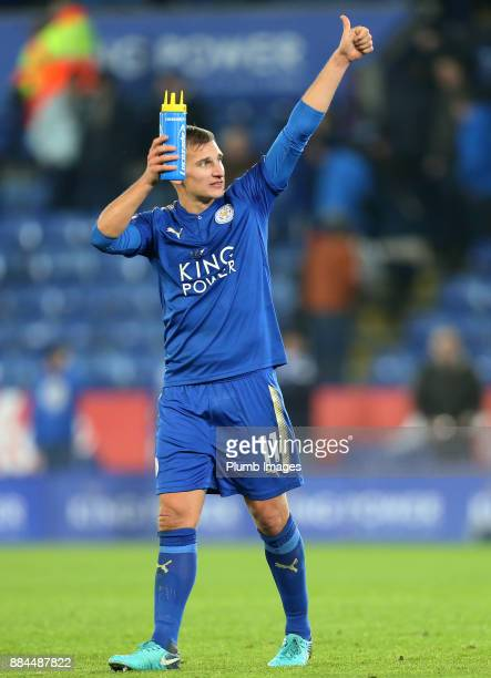 Marc Albrighton of Leicester City gives a thumbs up to the home fans after the Premier League match between Leicester City and Burnley at King Power...