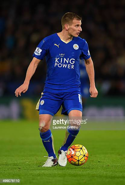 Marc Albrighton of Leicester City in action during the Barclays Premier League match between Leicester City and Manchester United at The King Power...
