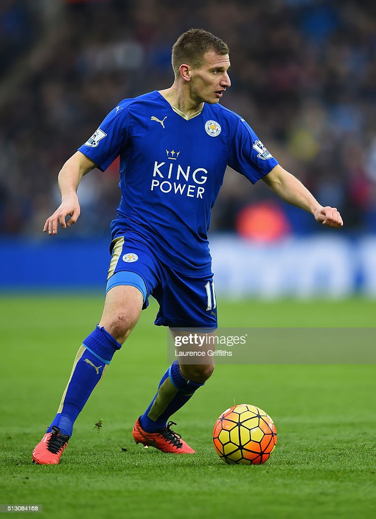 Marc Albrighton of Leicester City in action during the Barclays Premier League match between Leicester City and Norwich City at The King Power Stadium on February 27, 2016 in Leicester, England.