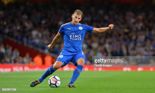 Marc Albrighton of Leicester City in action during the Premier League match between Arsenal and Leicester City at Emirates Stadium on August 11th...