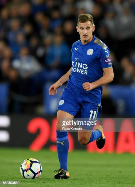 Marc Albrighton of Leicester City in action during the Premier League match between Leicester City and West Bromwich Albion at The King Power Stadium...