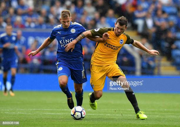 Marc Albrighton of Leicester City Pascal Grob of Brighton and Hove Albion during the Premier League match between Leicester City and Brighton and...