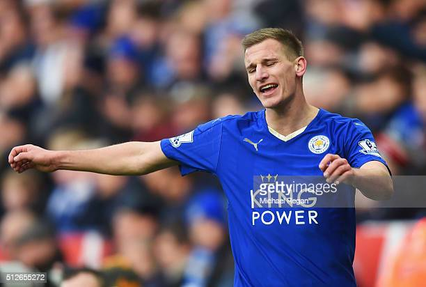 Marc Albrighton of Leicester City reacts during the Barclays Premier League match between Leicester City and Norwich City at The King Power Stadium...