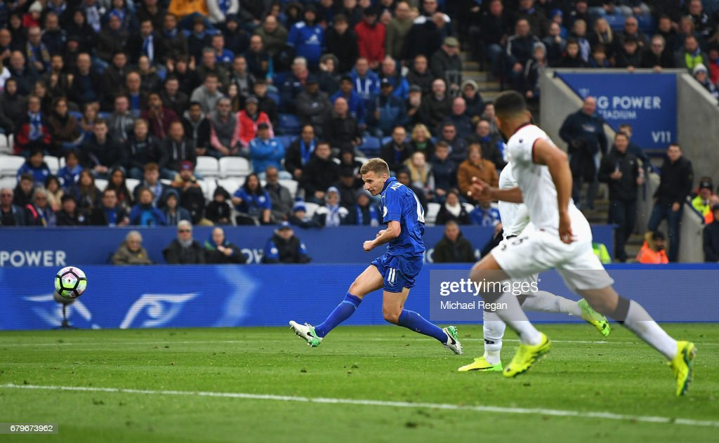 Marc Albrighton of Leicester City scores his sides third goal during the Premier League match between Leicester City and Watford at The King Power Stadium on May 6, 2017 in Leicester, England.