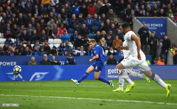 Marc Albrighton of Leicester City scores his sides third goal during the Premier League match between Leicester City and Watford at The King Power...