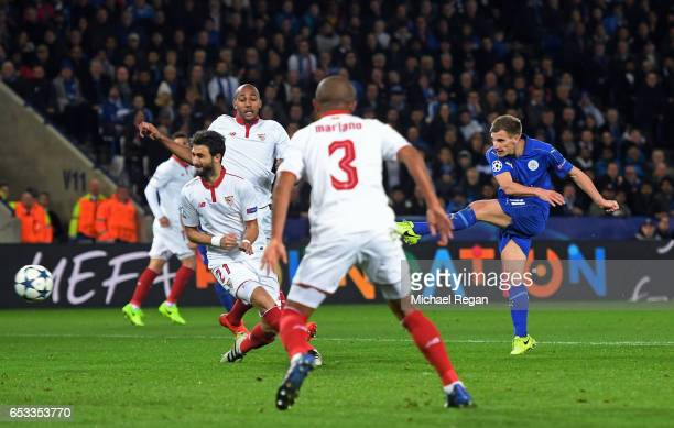 Marc Albrighton of Leicester City scores his team's second goal during the UEFA Champions League Round of 16 second leg match between Leicester City...