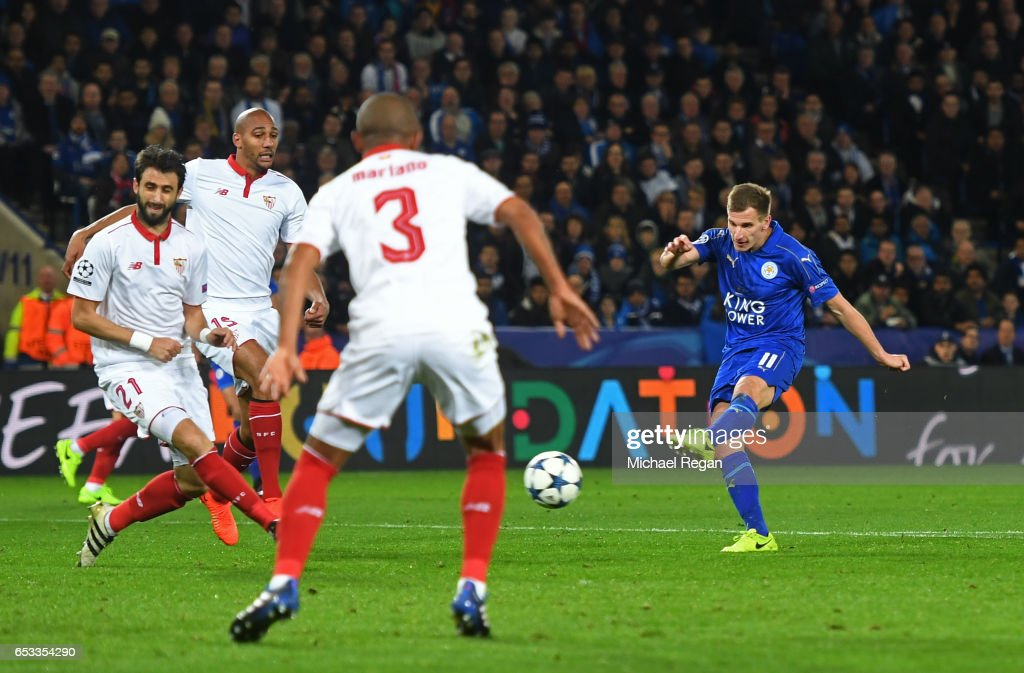 Marc Albrighton of Leicester City scores his team's second goal during the UEFA Champions League Round of 16, second leg match between Leicester City and Sevilla FC at The King Power Stadium on March 14, 2017 in Leicester, United Kingdom.
