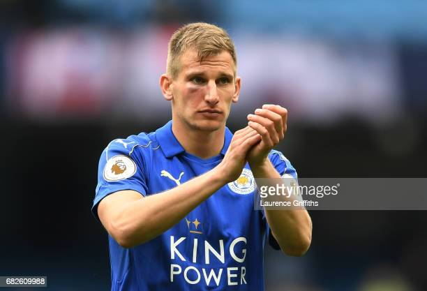 Marc Albrighton of Leicester City shows appreciation to the fans after the Premier League match between Manchester City and Leicester City at Etihad...