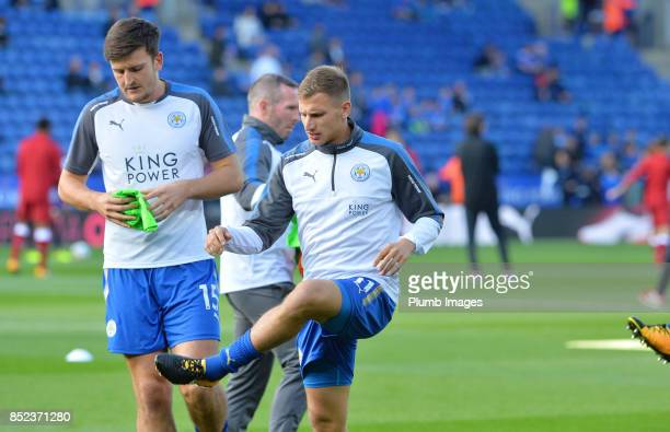 Marc Albrighton of Leicester City warms up at King Power Stadium ahead of the Premier League match between Leicester City and Liverpool at King Power...
