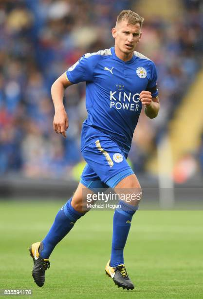 Marc Albrighton of Leicester in action during the Premier League match between Leicester City and Brighton and Hove Albion at The King Power Stadium...