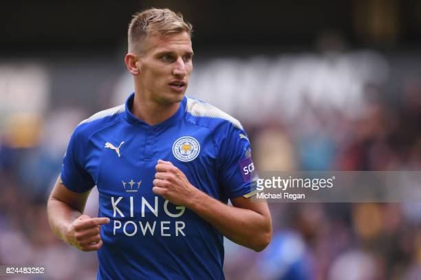 Marc Albrighton of Leicester in action during the preseason friendly match between Wolverhampton Wanderers and Leicester City at Molineux on July 29...
