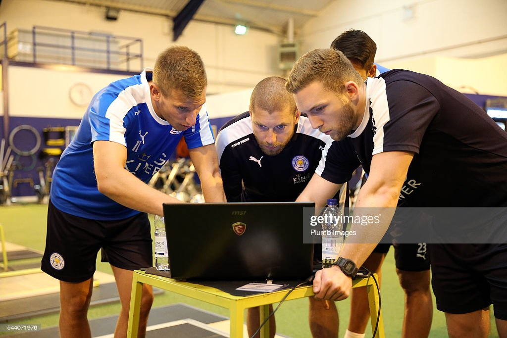 Marc Albrighton talks to the sports science team during the testing session as the first set of Leicester City Players return for pre-season at Belvoir Drive Training Complex on July 1, 2016 in Leicester, United Kingdom.