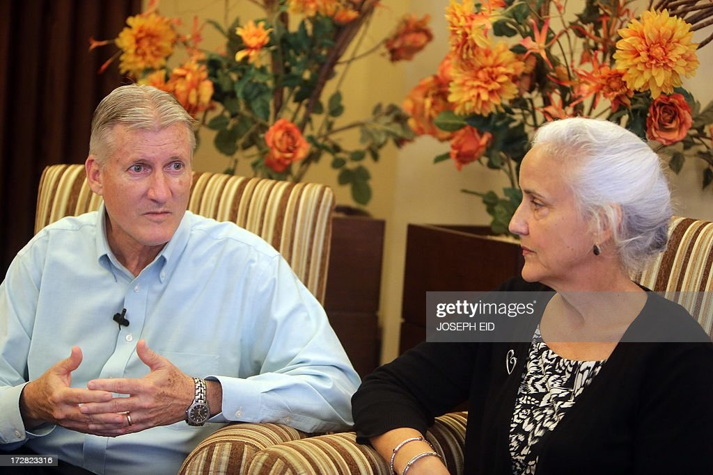 Marc (L) and Debra (R) Tice, the parents of Austin Tice, 31, a US journalist who has been missing in Syria since August 2012, speak to an AFP journalist during an interview in Beirut on July 4, 2013. Debra Tice wakes up each morning hoping her life will have changed and the 11 months since her son Austin disappeared in Syria will turn out to have been a bad dream. But since she and her husband Marc learnt that their 31-year-old first-born had gone missing while reporting in the war-torn country, not a single morning has given her that relief.