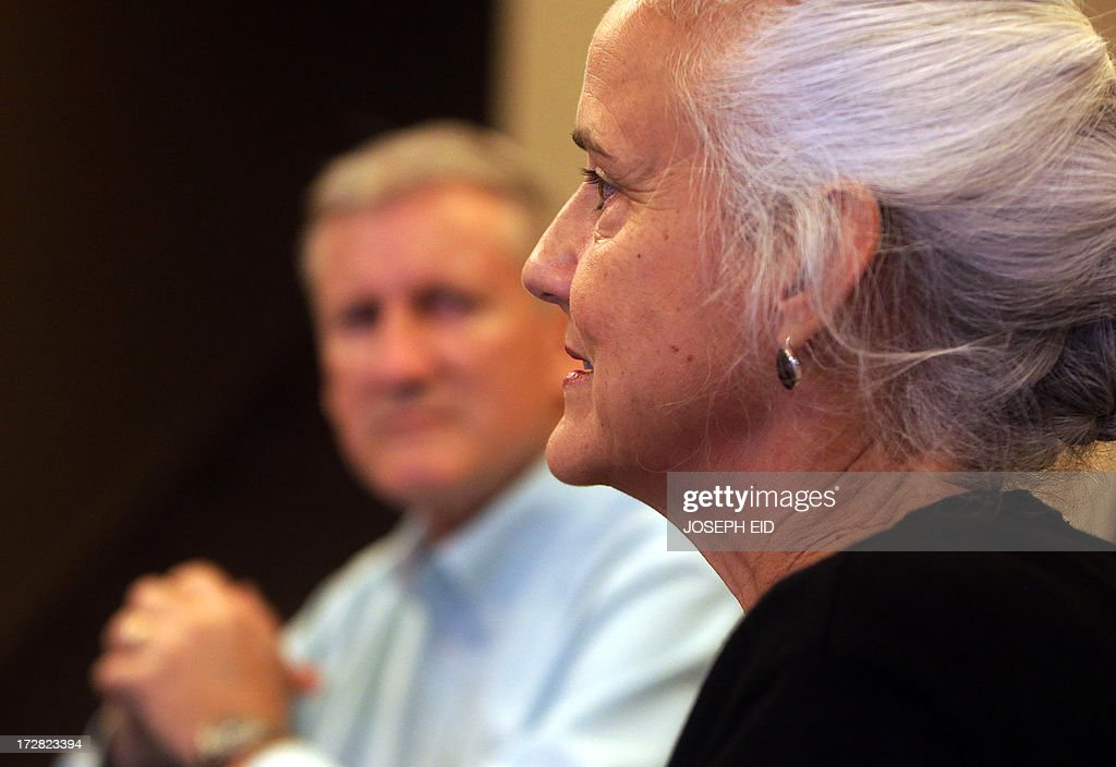 Marc (L) and Debra (R) Tice, the parents of Austin Tice, 31, a US journalist who has been missing in Syria since August 2012, speak to an AFP journalist during an interview in Beirut on July 4, 2013. Debra Tice wakes up each morning hoping her life will have changed and the 11 months since her son Austin disappeared in Syria will turn out to have been a bad dream. But since she and her husband Marc learnt that their 31-year-old first-born had gone missing while reporting in the war-torn country, not a single morning has given her that relief. AFP PHOTO/JOSEPH EID