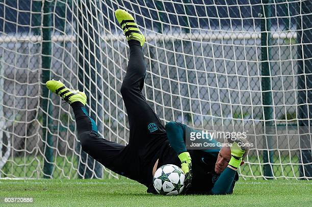 Marc André ter Stegen in action with the ball during the training session at the Sports Center FC Barcelona Joan Gamper before the Champions League...