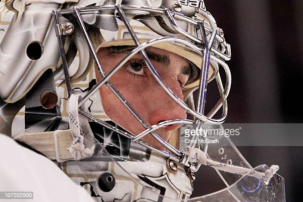 Marc Andre Fleury of the Pittsburgh Penguins waits for play to resume against the New York Rangers during their game on November 29 2010 at Madison...