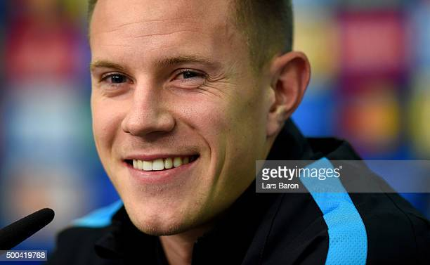 Marc Andre ter Stegen is seen during a FC Barcelona press conference on the eve of the UEFA Champions League groupe E match against Bayer Leverkusen...