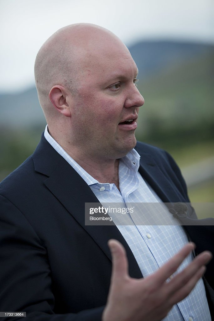 Marc Andreessen, co-founder and general partner of Andreessen Horowitz, speaks during a Bloomberg Television interview on the sidelines of the Allen & Co. Media and Technology Conference in Sun Valley, Idaho, U.S., on Thursday, July 11, 2013. Executives from media, finance and politics mingle at the mountain resort between presentations on business trends and social issues, brought together by New York investment banker Herb Allen. Photographer: Scott Eells/Bloomberg via Getty Images
