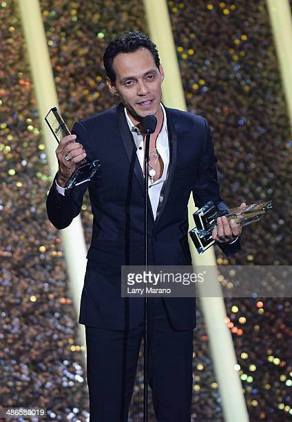 Marc Anthony accepts award onstage during the 2014 Billboard Latin Music Awards at Bank United Center on April 24 2014 in Miami Florida