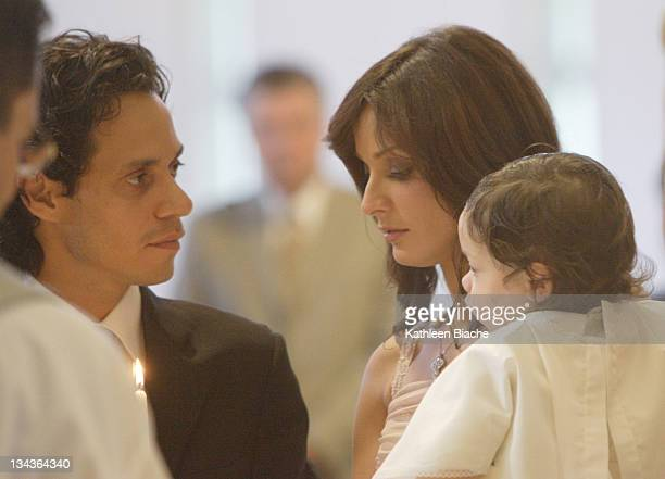 Marc Anthony and Dayanara Torres during The Baptism of Marc Anthony and Dayanara Torres' Son at St Agatha Church in Miami Florida United States