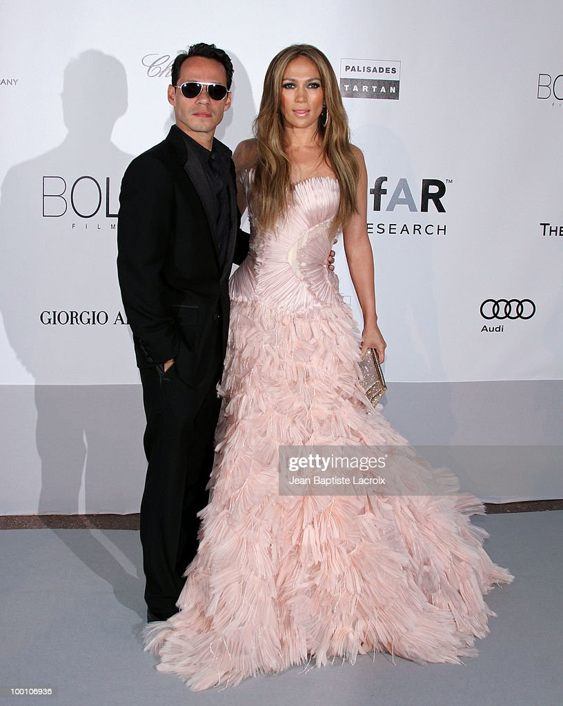 Marc Anthony and Jennifer Lopez arrive at amfAR's Cinema Against AIDS 2010 benefit gala at the Hotel du Cap on May 20, 2010 in Cannes, France.