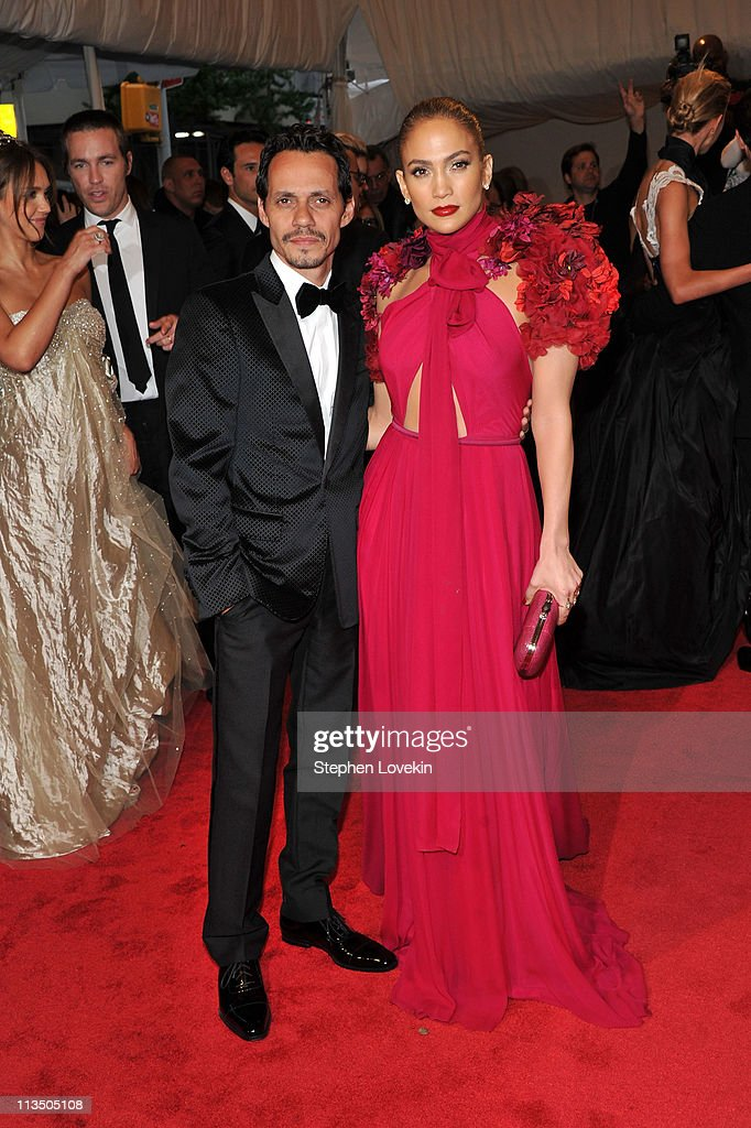 Marc Anthony and Jennifer Lopez attend the 'Alexander McQueen Savage Beauty' Costume Institute Gala at The Metropolitan Museum of Art on May 2 2011...