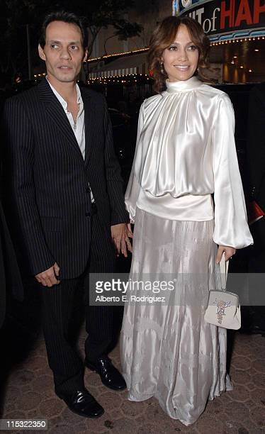Marc Anthony and Jennifer Lopez during 'The Pursuit of Happyness' Los Angeles Premiere Red Carpet at Mann Village Theater in Westwood California...