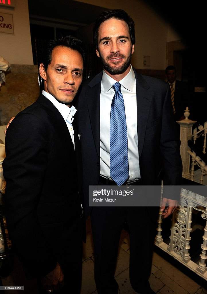 Marc Anthony and Jimmy Johnson backstage at Samsung's 9th Annual Four Seasons of Hope Gala at Cipriani Wall Street on June 15, 2010 in New York City.