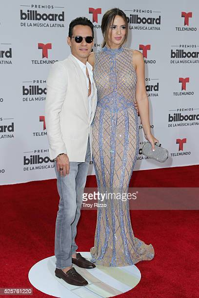 Marc Anthony and Shannon de Lima are seen arriving to the Billboard Latin Music Awards at the Bank United Center on April 28 2016 in Miami Florida