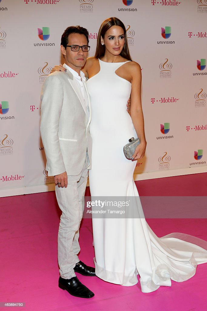 Marc Anthony and Shannon De Lima attend the 2015 Premios Lo Nuestros Awards at American Airlines Arena on February 19 2015 in Miami Florida