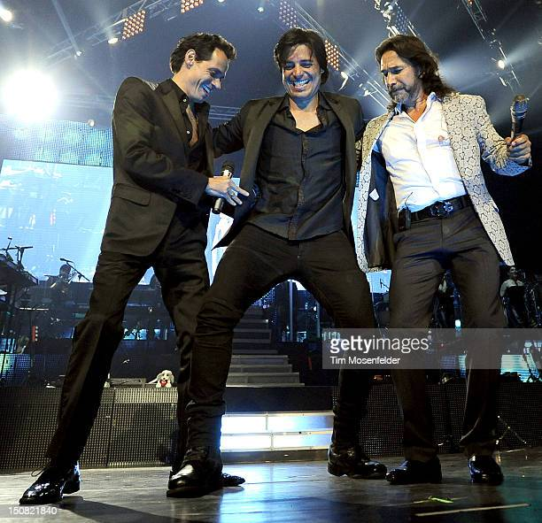 Marc Anthony Chayanne and Marco Antonio Solis perform the Finale of the Gigant3s Tour at HP Pavilion on August 26 2012 in San Jose California
