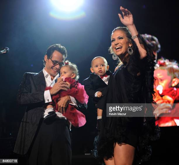 NEW YORK FEBRUARY 14 *EXCLUSIVE* Marc Anthony Jennifer Lopez and their kids Max and Emme on stage before he performs Valentine's Day show at Madison...