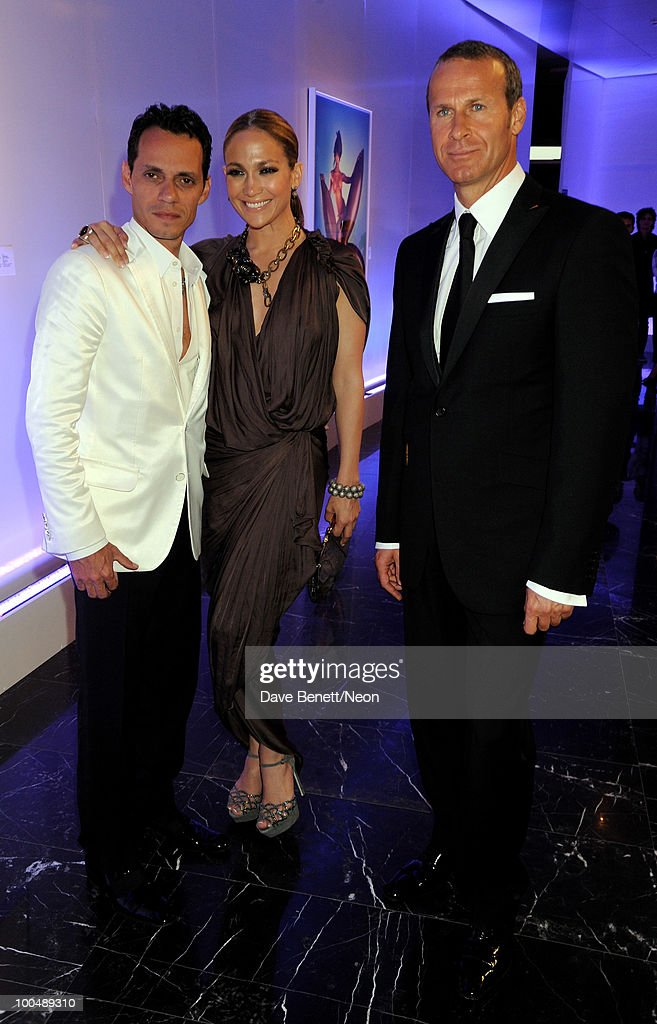 Marc Anthony, Jennifer Lopez and Vladimir Doronin attend the NEON Charity Gala in aid of the IRIS Foundation at the Capital City on May 24, 2010 in Moscow, Russia.