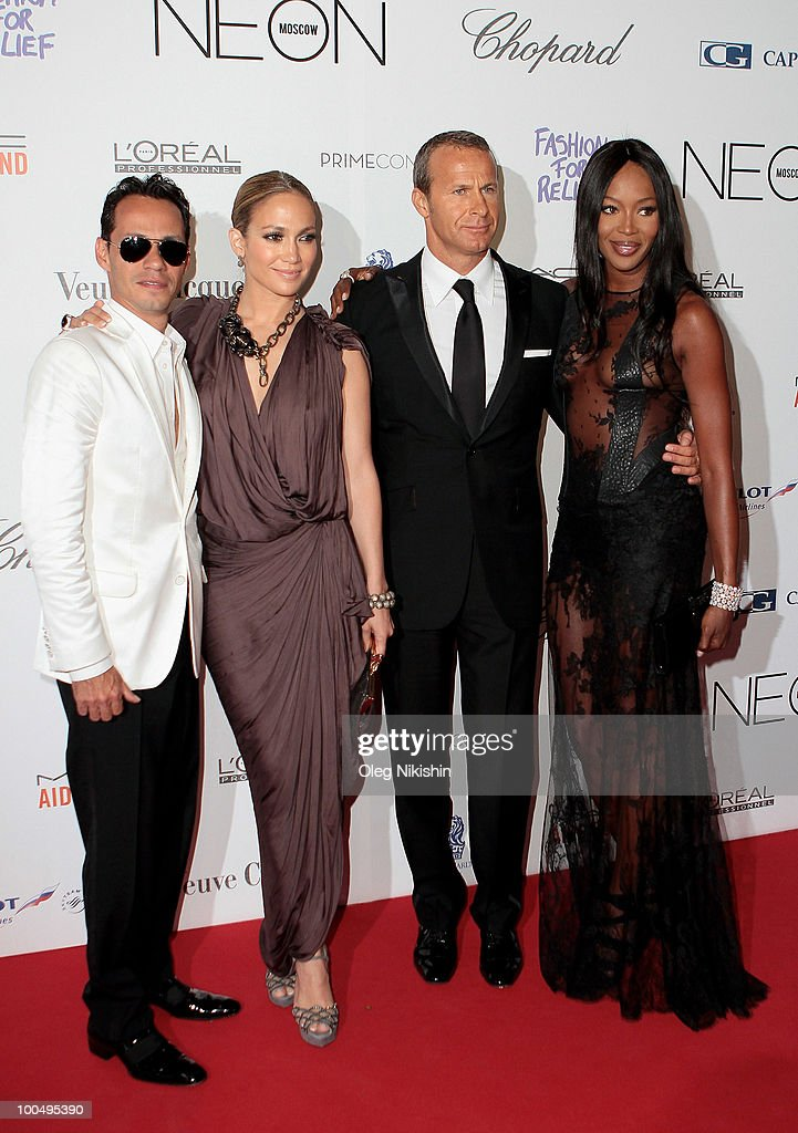 Marc Anthony, Jennifer Lopez, Vladimir Doronin and Naomi Campbell arrive at the NEON Charity Gala in aid of the IRIS Foundation at the Capital City on May 24, 2010 in Moscow, Russia.