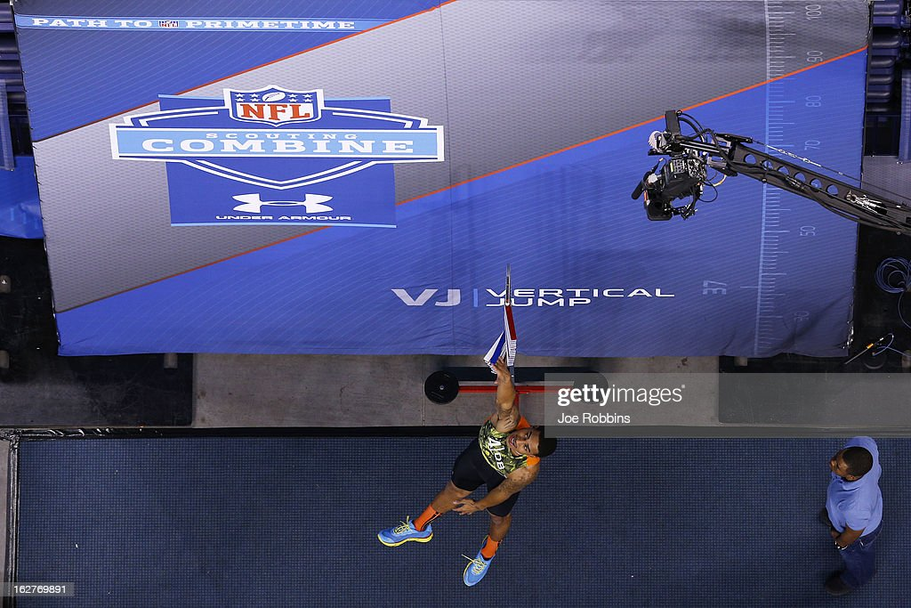 Marc Anthony of the University of California participates in the vertical jump during the 2013 NFL Combine at Lucas Oil Stadium on February 26, 2013 in Indianapolis, Indiana.