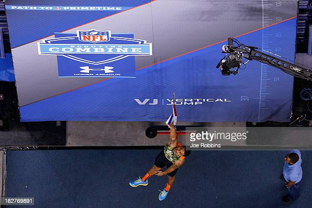 Marc Anthony of the University of California participates in the vertical jump during the 2013 NFL Combine at Lucas Oil Stadium on February 26 2013...