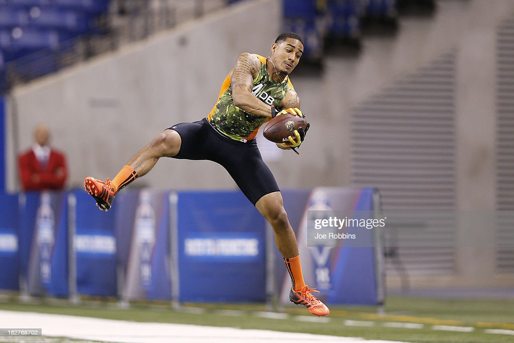 Marc Anthony of the University of California works out during the 2013 NFL Combine at Lucas Oil Stadium on February 26, 2013 in Indianapolis, Indiana.